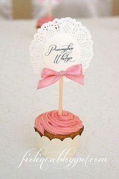 Fiolinea - Ślubna Galanteria Papiernicza: Różowe muffinkowe wesele Marleny i Adasia
