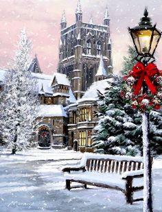 beautiful christmas images - New Year Christmas Scenes, Noel Christmas, Victorian Christmas, Vintage Christmas Cards, Christmas Pictures, Winter Christmas, Xmas, Christmas Mantles, Vintage Ornaments