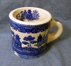 Vintage Blue Willow Pottery Mug Ceramic Shaving