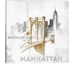 Icanvas 'Brooklyn Bridge' Giclee Print Canvas Art (87 CHF) ❤ liked on Polyvore featuring home, home decor, wall art, backgrounds, art, new york, fillers, embellishment, text and detail