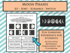 This Moon phase game activity will engage your students and allow them to learn the phases of our moon in a fun and exciting way.  Directions:  Cut apart the pictures of the moon's phases and names for each phase.  Laminate pieces if you wish to provide long-term durability.