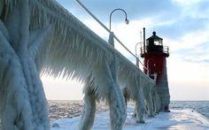 壁紙をダウンロードする 冬, 氷, 灯台, ミシガン湖