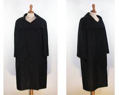 1950s black coat / elegant raglan coat / light weight coat /late fifties coat 60s by MyLoftVintage on Etsy