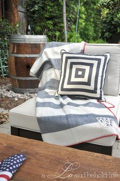 FEED USA blanket for the back patio