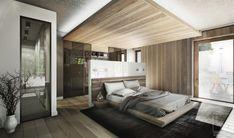 abgehängte Holz-Decke mit indirekter Beleuchtung im Schlafzimmer