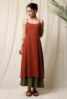 Buy Set of Gerua Cotton Slip & Peepal Cotton Culottes Online Simple Kurti Designs, Kurta Designs Women, Blouse Designs, Indian Designer Outfits, Indian Outfits, Designer Dresses, Designer Kurtis, Casual Indian Fashion, Sleeves Designs For Dresses