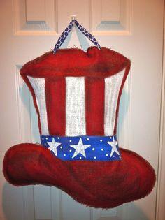 Uncle Sam Hat  Burlap Door Hanger