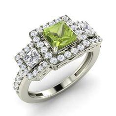 Princess-Cut Peridot Ring in 14k White Gold with VS Diamond,SI Diamond