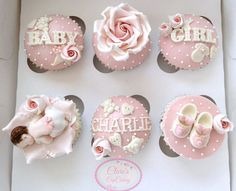 New cupcakes baby shower girl mini ideas Fondant Toppers, Fondant Cupcakes, Cute Cupcakes, Cupcake Toppers, Baby Shower Cupcakes For Girls, Baby Cupcake, Cake Pops, Baby Cookies, Baby Shower Cookies
