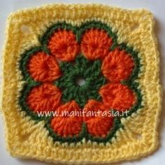 African flower quadrato tutorial in italiano - manifantasia Tutorial Rosa, Flower Tutorial, Crochet African Flowers, Crochet Flowers, Crochet Mandala, Diy Crafts To Sell, Crochet Patterns, Things To Sell, Knitting