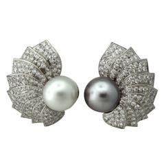 IMPRESSIVE Platinum 4.50ctw Diamond South Sea Pearl Earrings