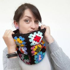 Vintage style Granny Square Crochet Snood Scarf infinity scarf 70's style crochet bright colours