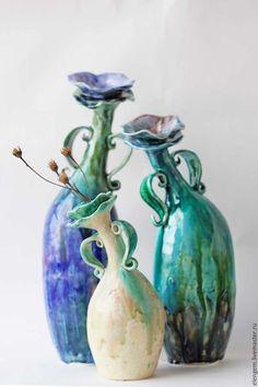 Купить Фантазия - комбинированный, ручная работа, выза, ваза ручной работы, украшение интерьера, фаянс