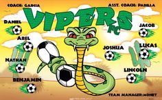 Vipers B55234  digitally printed vinyl soccer sports team banner. Made in the USA and shipped fast by BannersUSA.  You can easily create a similar banner using our Live Designer where you can manipulate ALL of the elements of ANY template.  You can change colors, add/change/remove text and graphics and resize the elements of your design, making it completely your own creation.