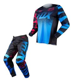 2015 Fox Racing Youth Girls MX ATV Offroad 180 Jersey & Pant Combo Black / Blue #FoxRacing
