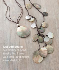 Mother-of-pearl adjustable pendant necklace and mother-of-pearl cluster necklace | www.jjill.com