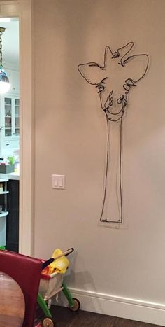 giraffe wire art. COOL!  Good idea for a contour drawing of a face