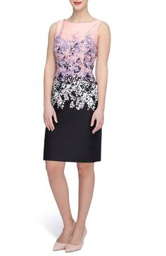 Free shipping and returns on Tahari Print Scuba Sheath Dress (Regular & Petite) at Nordstrom.com. A contemporary mix of color blocking and classic prints puts an artistic twist on this sleek sheath dress crafted from a smooth, stretchy scuba knit.