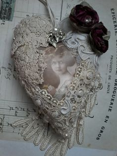 Tattered vintage shabby hanging by susanjanescreations on Etsy Beautiful Hearts, Fabric Hearts, Christmas Wreaths, Christmas Ornaments, Hanging Hearts, Heart Beat, Antique Lace, Dreamcatchers, Sewing Notions