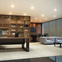 Sala do Advogado com estante planejada e mesa de alto padrão com detalhes em couro legítimo. by RS Design