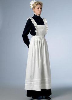 Victorian Aprons, Victorian Maid, Aprons Vintage, Edwardian House, Apron Pattern Free, Maid Uniform, Maid Outfit, Costume Design, Harajuku
