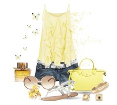 """Yellow tank"" by vst063090 ❤ liked on Polyvore featuring Burberry, American Eagle Outfitters, Longchamp, Cutie, Chloé, Dorothy Perkins, David Yurman, Andiamo and Kate Spade"