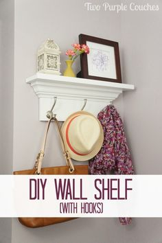 DIY Wall Shelf with Hooks via www.twopurplecouches.com