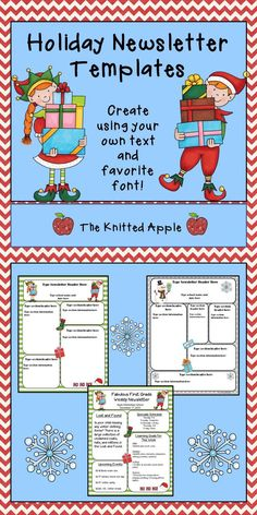 FREE editable newsletter templates in a holiday theme!
