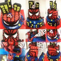 Pastel de Spiderman en fondant
