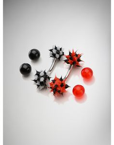 14 Gauge Black Red Koosh Belly Button Rings