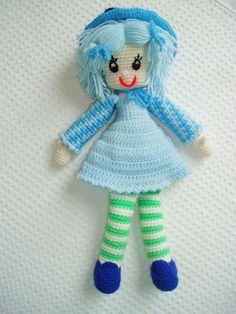 plush Doll girl Crochet hand knit Handmade USA Folk Craft  #handmade