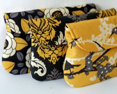 Wedding Clutch Gray and Yellow set of 3 bridesmaid clutch #etsy #gifts