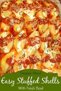 Easy Stuffed Pasta Shells make great freezer meals. Double or triple the recipe to make lots of freezer meals at one time. #easyrecipes #shareameal