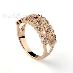 Accessories, Brilliant Peach Heart Crystal Alloy Lady's Ring, Jewelry,23.09