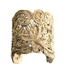 100% reclaimed metal cuff, handmade in Los Angeles. The inspiration was the wedding dress of the designer's grandmother. Via Alkemie Jewelry  http://www.alkemiejewelry.com/collections/cuffs/products/large-antique-lace-cuff