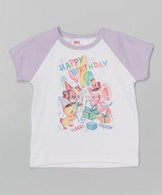 Sweet Petunia Lavender 'Happy Birthday' Raglan Tee - Infant, Toddler & Girls by Sweet Petunia #zulily #zulilyfinds