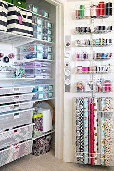 Craft Room Organization - Unexpected & Creative Ways to Organize Your Craftroom on a Budget Craft Room Closet, Craft Closet Organization, Craft Room Storage, Bathroom Storage, Diy Storage, Arts And Crafts Storage, Creative Storage, Small Storage, Garage Storage