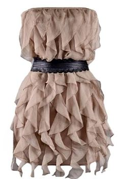 Spinning Streamers Dress: Features an elasticized strapless design with scalloped black faux-leather belt for pop, tassle trim cord closure at back for added décor, tonal liner for full coverage, and a mesmerizing display of streamer-like frills cascading down the front to finish.