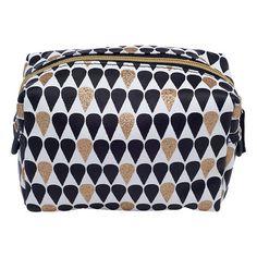 Droplet Cosmetic Bag, Black/Gold