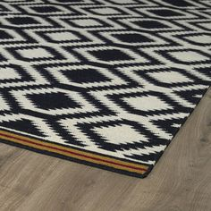 Flatweave TriBeCa Black Geometric Wool Rug (2'6 x 8' Runner) | Overstock.com Shopping - The Best Deals on Runner Rugs