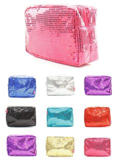 "Sparkle Bling 9"" SEQUIN Cosmetic Bag Makeup Pouch Dance Cheer Travel Tote Bag #Other #CosmeticBags"
