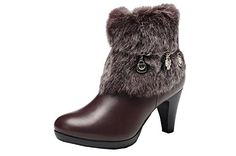 Pinklily Womens Fashion High Most Desirable Zip Booties Brown 37 EU *** This is an Amazon Affiliate link. Visit the image link more details.