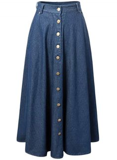 Fashion Button Front Pleated Maxi Denim Skirt - OASAP.com