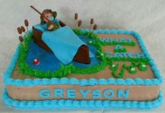 Fishing boat themed baby shower cake by Amber's Cake Lair