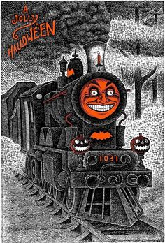 My Darling having a ghost of a good time riding the rail. Retro Halloween, Halloween 2018, Spooky Halloween Pictures, Halloween Kunst, Halloween Train, Spooky Halloween Costumes, Vintage Halloween Cards, Halloween Stories, Halloween Artwork