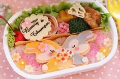 The charaben shown below were lunches made by a housewife in Japan for her daughter. Micky and Minnie Minnie Miss Bunny Miss Daisy Winnie the Pooh See my related posts: Character Bento