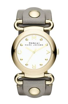 Gold-Tone & Black Leather Watch, from Marc by Marc Jacobs Watches on Gilt Marc Jacobs Uhr, Marc Jacobs Watch, Marc Jacobs Handbag, Bling Bling, Jewelry Accessories, Fashion Accessories, Bracelet Cuir, Grey Leather, Jewelry Watches