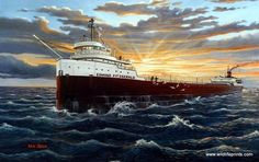 Ken Zylla's Norbound is a print that reminds us of the legend of Edmund Fitzgerald and its sinking on Lake Superior in Great Lakes Shipwrecks, Edmund Fitzgerald, Great Lakes Ships, Ship Paintings, Lake Michigan, Plein Air, Travel, Nautical Interior, Roasted Cabbage