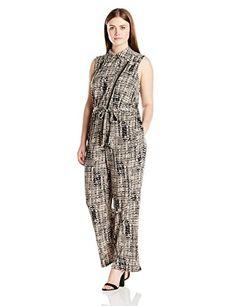 9a5222a7ba3 Amazon.com  Calvin Klein Women s Plus-Size Printed Moto Jumpsuit