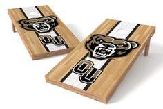 Oakland University Golden Grizzlies Single Cornhole Board - Court